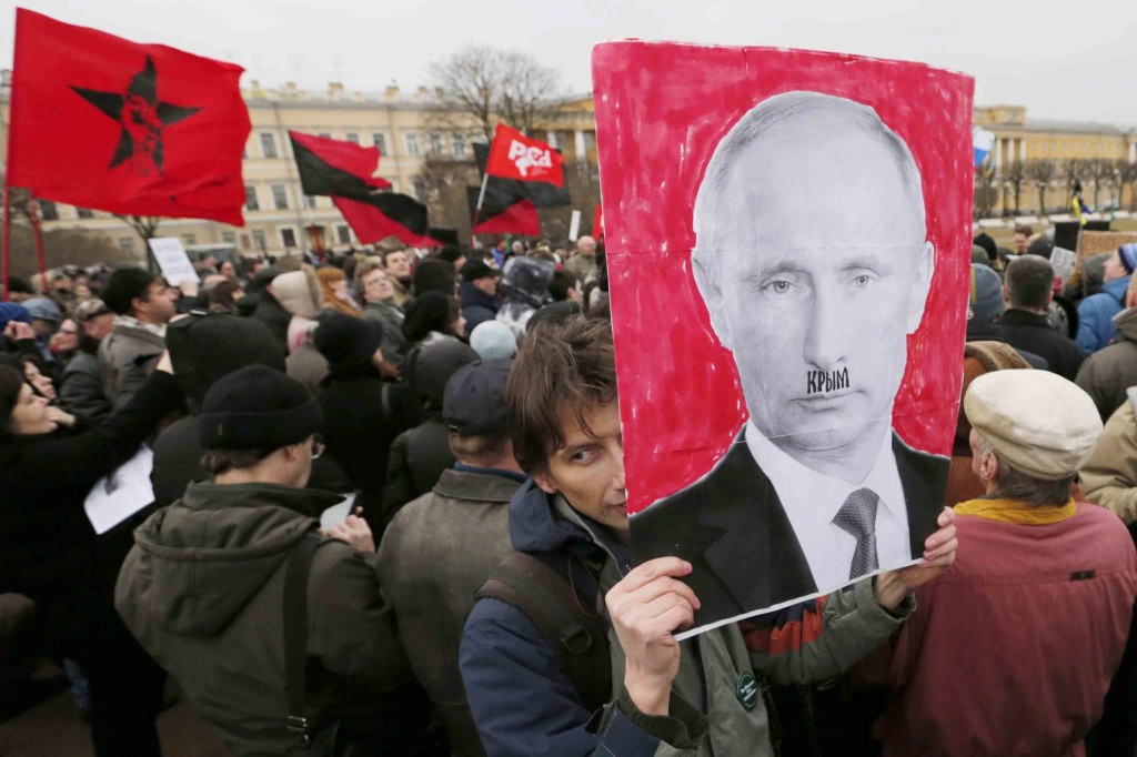 Protest rally against Russian policy on Crimea